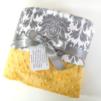 Yellow and Gray Damask Minky Baby Blanket - for boy or girl
