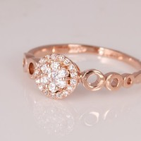 Fashion Plaza 18k Rose Gold Plated Simulated Diamond Engagement Ring R401