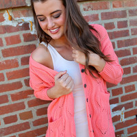 Cozy In Your Arms Cardigan Sweater {Coral}