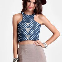 Small Ball Polka Dot Crop Top By Fairground | Threadsence