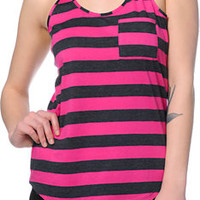 Zine Neon Fuchsia & Charcoal Stripe Pocket Tank Top