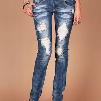 Highway Stitch Straight Denim - Straight Denim at Pinkice.com