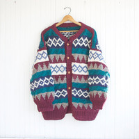 Oversized South American Stripe Wool Cardigan