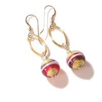 Murano Glass Pink Gold Dangle Earrings, Venetian Jewelry, Italian, Leverback Earrings
