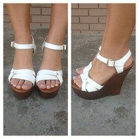 White Marta Buckle Wedges