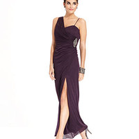 Onyx One-Shoulder Jeweled Draped Gown