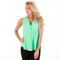 Lush Juniors Woven Henley Tank at Von Maur