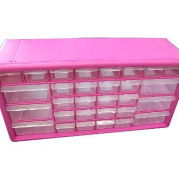 The Original Pink Box PB30MPB 30 Drawer Parts Bin, Pink