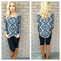 Grey Aztec Print Knit 3/4 Sleeve Top