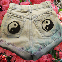 YIN YANG light blue, purple , and Teal Tie-Dye Dyed STEFANO high-waisted Shorts Indie hipster seapunk soft grunge hippie pastel goth fashion
