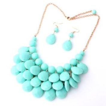 Layered Dangling Bubble Statement Necklace and Earring Set, 1pc Necklace and 1 Pair Earring