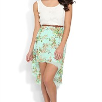 Dress with Lace Tank Bodice and Floral High Low Skirt