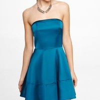 STRAPLESS SATIN FIT AND FLARE DRESS