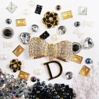 DIY 3D Bling Cell Phone Case Deco Kit: Rhinestone Gold Dangling D and Rhinestone Multicolor Gem Cabochons