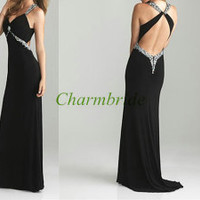 2014 long black chiffon prom dresses with Rhinestone,sexy v-neck gowns for holiday party,unique elegant evening dress hot,homecoming dress.