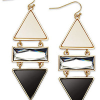 Bar III 14k Gold-Plated Black-and-White Stone Drop Earrings