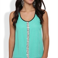 Chiffon Racerback Tank with Beading at Center Front