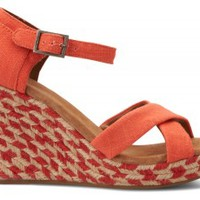 Coral Mixed Rope Women's Strappy Wedges