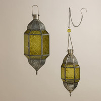Green Sabita Embossed Glass Hanging Lanterns