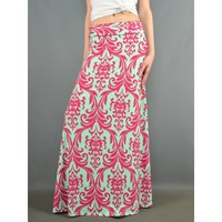 Royal Maxi Skirt-Fuchsia-Mint