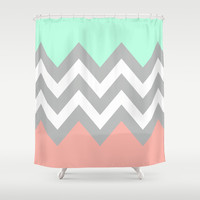 DOUBLE COLORBLOCK CHEVRON {MINT/CORAL/GRAY} Shower Curtain by n a t a l i e
