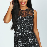 Vivian Geometric Aztec Lace Top Playsuit