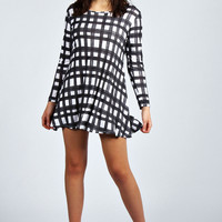 Tia Grid Print Long Sleeve Swing Dress