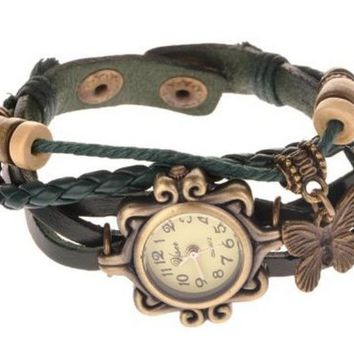 Elite Charm® Butterfly Pendant Quartz Fashion Weave Wrap Leather Bracelet Womens Wrist Watches