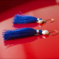 Cobalt blue white pearl tassel earrings Ultramarine silky statement dangles with 14k gold fill Festival luxe Global tribal style Hippie Glam