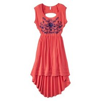 Xhilaration® Junior's Embroidered High Low Dress - Fiesta Red