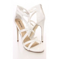 White Strappy Open Toe Sandal Heels Patent
