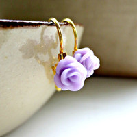 L I L A C Tiny Rose French Clips Earrings by MadebyLinLin on Etsy