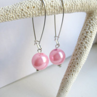 Pretty in Pink Faux Pearl Kidney Wire Earrings by MadebyLinLin