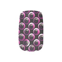 All Eyeballs on You Pink&Black Minx Nail Wraps