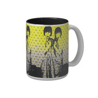 Two girls and A Cup Vintage sisters Pop Art Mugs