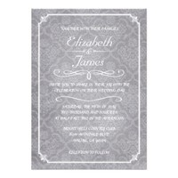 White Damask Chalkboard Wedding Invitations