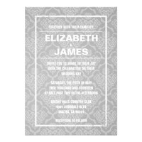 Rustic Vintage White Damask Wedding Invitations