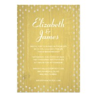 Yellow Rustic Country Barn Wood Wedding Invitation
