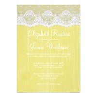 Yellow Rustic Lace & Barn Wood Wedding Invitations