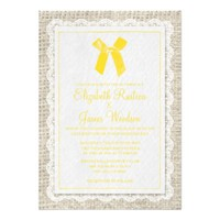 Yellow Country Burlap Wedding Invitations