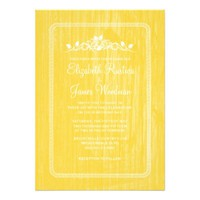 Yellow Vintage Barn Wood Wedding Invitations