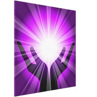 Healing hands with white energy on purple color