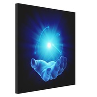 3-D hand with healing blue energy on black back