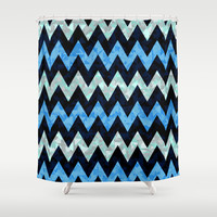 Blue Zigzag Shower Curtain by Ornaart