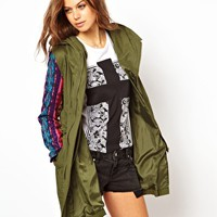 ASOS Embroidered Sleeve Festival Parka