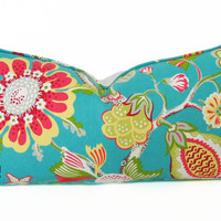 "DISCONTINUED ITEM 20% OFF Indoor-Outdoor Pillow Cover - 14"" X 27"" Floral Print From P. Kaufmann Fabric - Limited Outdoor Use"