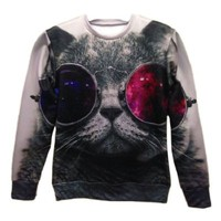 3d Red and Blue Glasses Cat Pullovers Galaxy Sweatshirts Top Size M