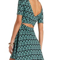 BACK CUT-OUT TRIBAL PRINT SKATER DRESS