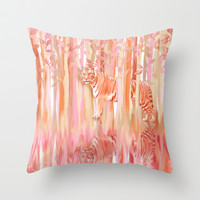 Tiger in the Trees - Painting / Collage Throw Pillow by micklyn