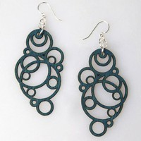 Green Tree Intergrated Circles Wood Earrings - Teal - Punk.com